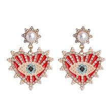 New Fashion Crystal Evil Eye Earrings Boho Geometric Big Heart Statement Drop Earrings Female Beaded Brincos 2020
