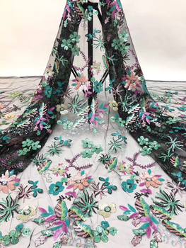 African Lace Fabric 2020 High Quality Lace Fabric French Sequin Lace Fabric Embroidery Nigerian Party Dress D36301