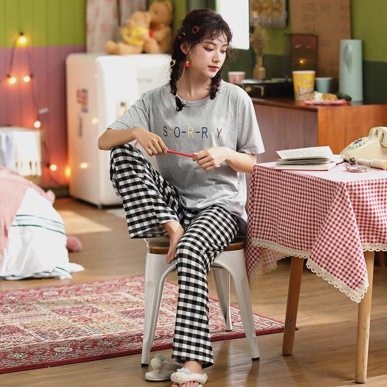 2020 Spring Summer Pajamas For Women Good Quality Cotton Made Casual Girl's Pyjamas Comfortable Night Sleepwear