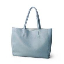 Bolso de lujo de piel de vaca para mujer, bolso de mano informal, azul claro, Bolso tipo shopper