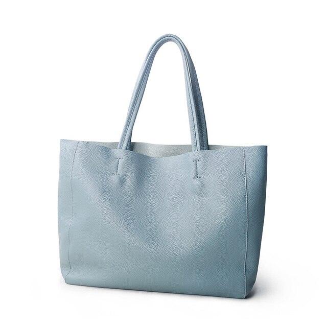 ผู้หญิงหรูหรากระเป๋า Casual Tote หญิง Light Blue แฟชั่นไหล่กระเป๋าถือ Lady Cowhide หนังแท้กระเป๋าสะพายกระเป๋า