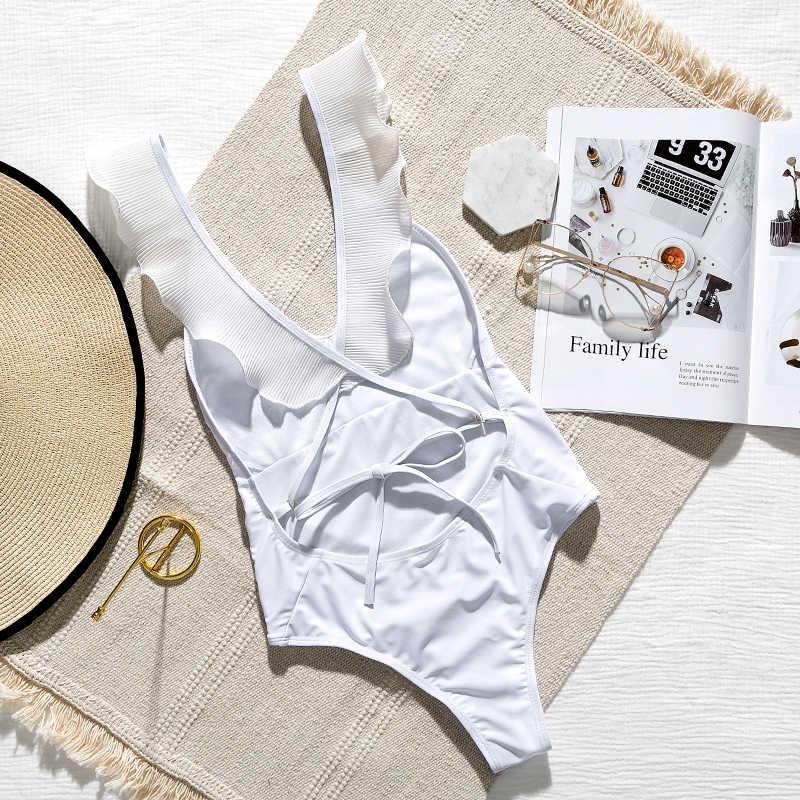 الأبيض البرازيلي امرأة ملابس السباحة قطعة واحدة داخلية مثير شبكة بيكيني شفاف 2019 عالية قطع تكدرت ملابس النساء monokini