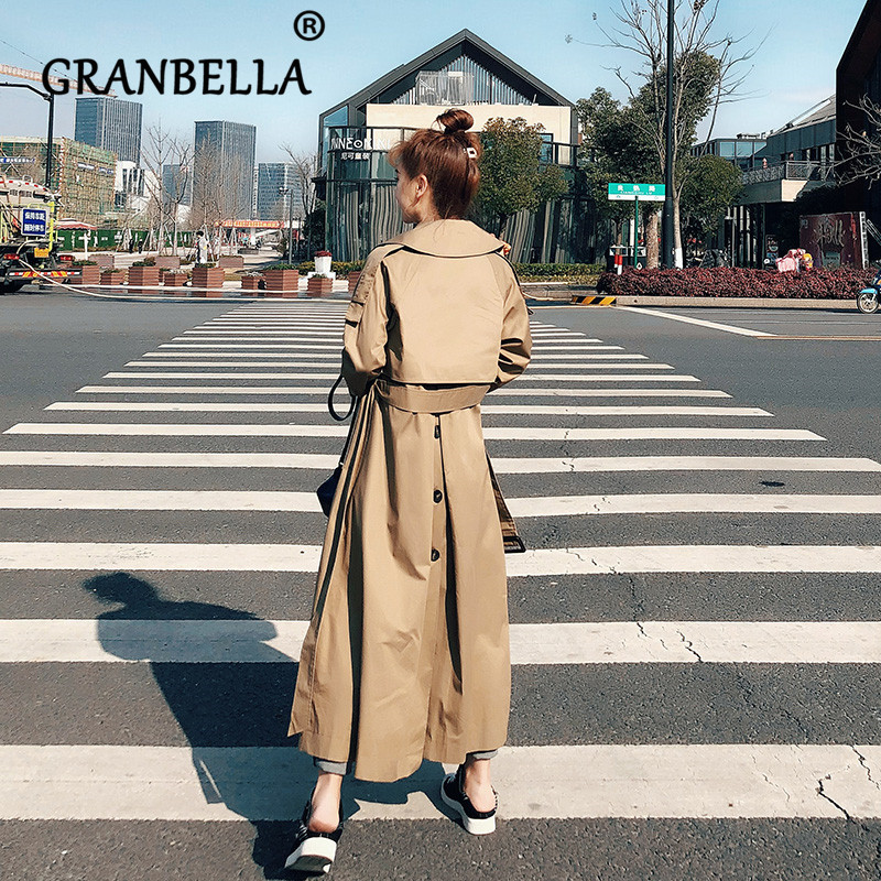 Korean Long Windbreaker New Loose Coat Cute Solid Color Turn-down Collar Waist With Belt Women Trench Coat