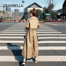 Korean Women Long Windbreaker Casual Loose Trench Coat Solid Color Turn-down col