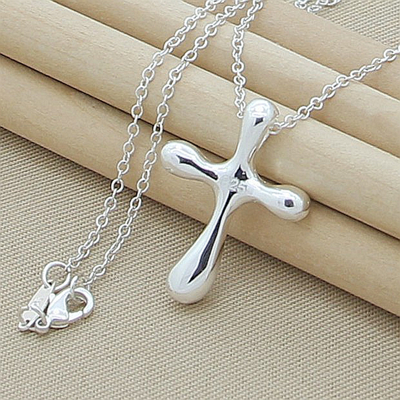Pendant Necklace New 2019 Silver 925 Jewelry Simple Cross Chain Necklace For Women Men Christmas Gift image