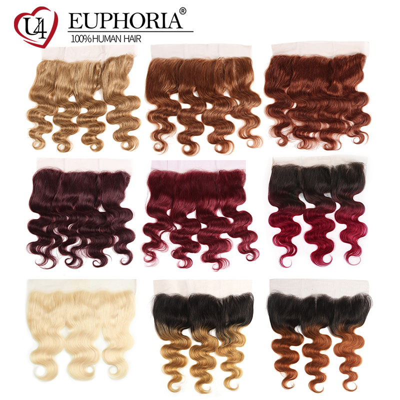 Honey Blonde Brazilian Remy Human Hair Lace Frontal Ear To Ear EUPHORIA Body Wave Hair Closure With Baby Hair Middle/Free Part