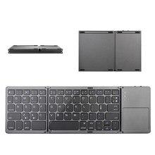 Inglês b033 mini teclado dobrável, teclado sem fio bluetooth com touchpad para windows, android, ios