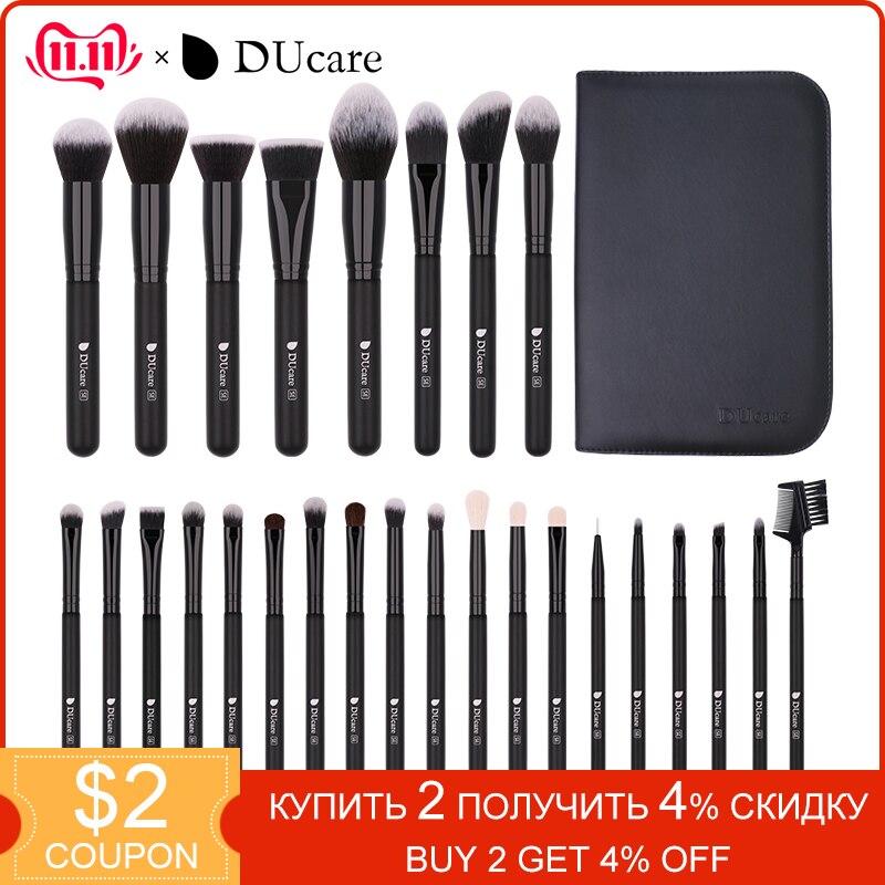 DUcare 27PCS Make up Brushes Foundation Powder Eyeshadow Highlight Contour Eyebrow Brush Natural Hair Makeup set with Case