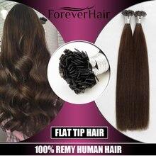 FOREVER HAIR 0,8 г/локон 20 дюймов человеческие волосы для наращивания Remy с двойным нарисованным плоским кончиком прямые кератиновые волосы для наращивания 80 г
