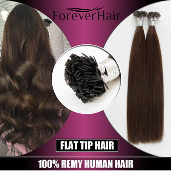"""FOREVER HAIR 0.8g/s 20"""" Remy Double Drawn Flat Tip Human Hair Extension Straight Capsules Keratin Pre Bonded Hair Extension 80g"""