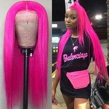 Maycaur длинные прямые розово красные 13x6 парики на сетке спереди термостойкие волоконные натуральные синтетические парики на сетке спереди для женщин