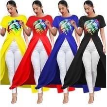 Rainbow Colorful Lips Printed Asymmetrical Dress Short Sleeve Maxi Tshirt Dresses Cartoon Cut Out Bestidos Plus Size Clothing asymmetrical hem cut out split sleeve sweatshirt