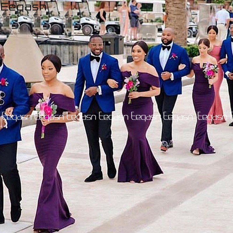 Cheap Purple Bridesmaids Dresses For Women Off The Shoulder Long Mermaid Wedding Party Gown Maid Of Honor Custom