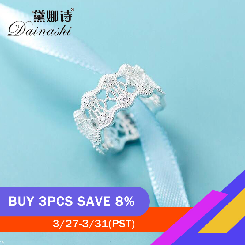 Dainashi Lace Hollow Design Index Finger Ring 925 Sterling Silver Anniversary Adjustable Ring Elegant For Women Birthday Gift
