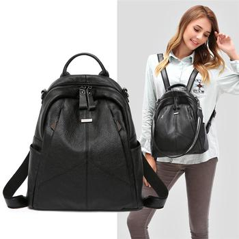 Fashion Women Backpack Genuine Leather Women Shoulder Bag Casual Bags Ladies Cow Leather Backpacks