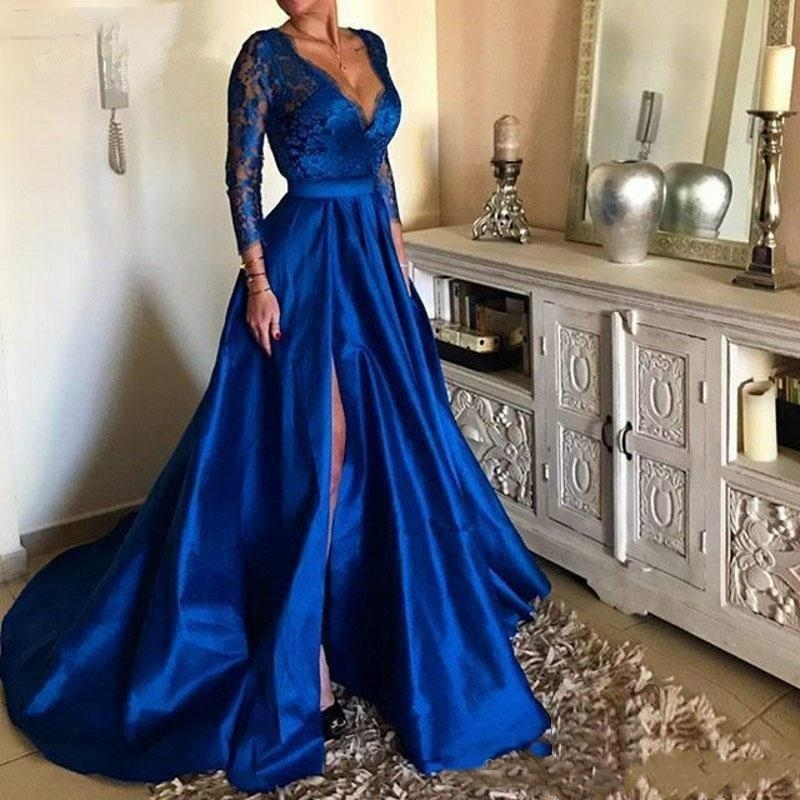 Royal Blue V-Neck Lace Long Prom Dresses High Split Long Sleeves Satin Evening Gowns Plus Size 2020 Vestidos De Festa