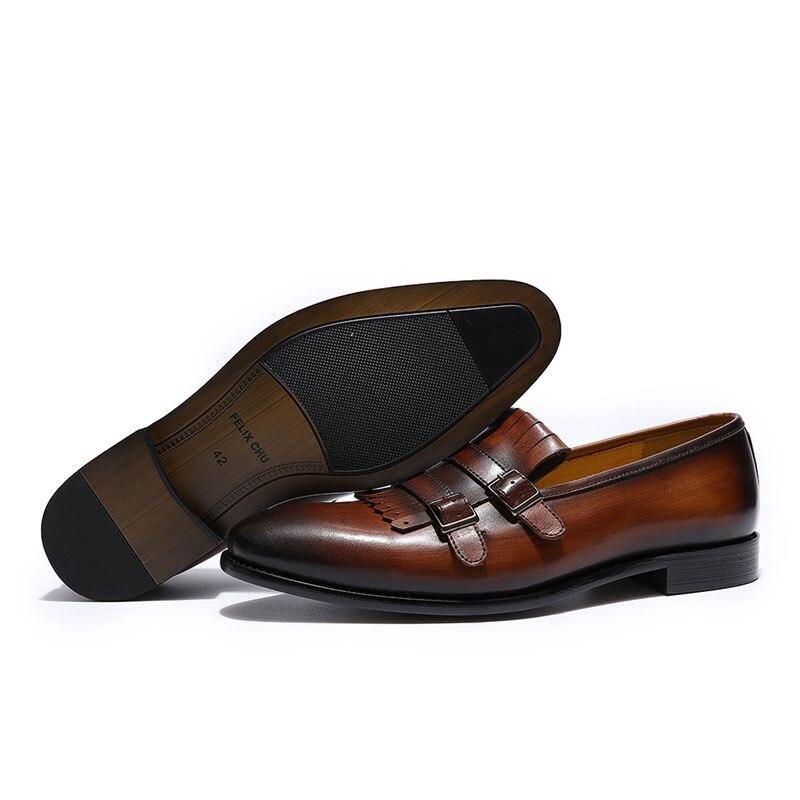 Respirant Style européen hommes mocassins en cuir véritable Double boucle moine sangle chaussures de mariage Banquet sans lacet chaussures pour hommes-in Chaussures d'affaires from Chaussures    3