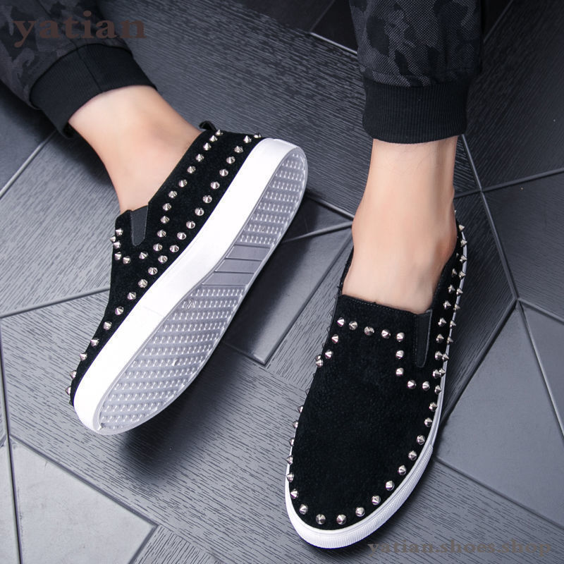 New Fashion Luxury Spikes Loafers Men Rivets Casual Leather Platform Sneakers Mens High Quality Motorcycle Shoes Black Shoe N-12