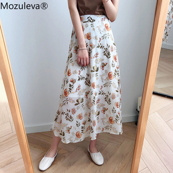 Mozuleva 2020 Spring Summer High Waist Chiffon Women Midi Skirts Casual Floral Print Female Skirt Maxi Beach Tutu Skirt femme