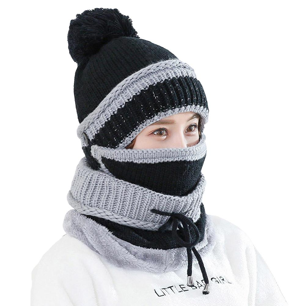 3Pcs Winter Women Thicken Warm Knitted Pompom Beanie Hat Cap Scarf Face Mask Set