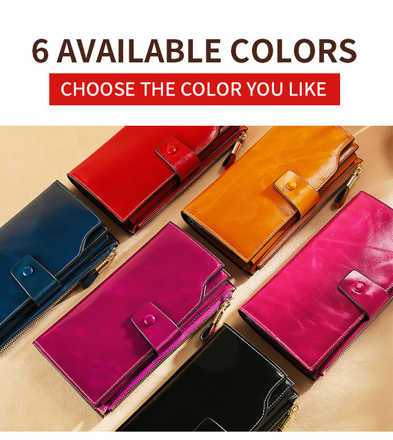 2019 a/w luxury oil wax cowhide leather women long wallet rfid anti-theft bag purse credit card holder money holders retro bags