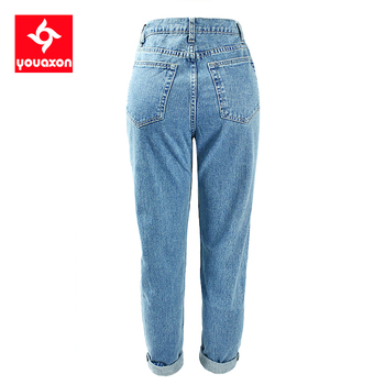 1886 Youaxon Cotton Vintage High Waist Mom Jeans Women`s Blue Black Denim Pants Boyfriend Jean Femme For Women Jeans
