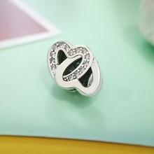 Positive and negative love 925 Sterling Silver Charms Shiny Zircon Original Reflection Fit Pandora Bracelet Jewelry
