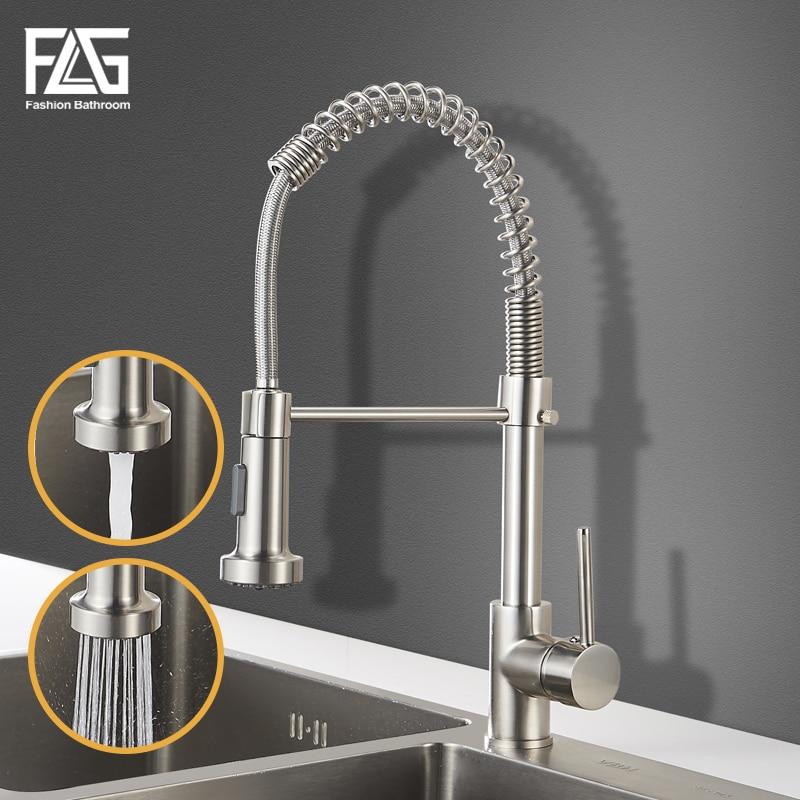 FLG robinets de cuisine brosse en laiton retirer le robinet de cuisine évier levier unique retirer les mélangeurs de pulvérisation robinet d'eau chaude froide grue 9009