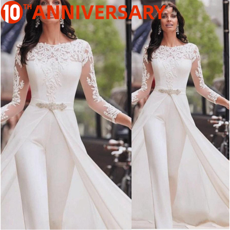 OLLYMURS Autumn Evening Dress Lace Side Jumpsuit With Long Sleeve Windbreaker Fake Two Pieces For Formal Evening Work Clothes