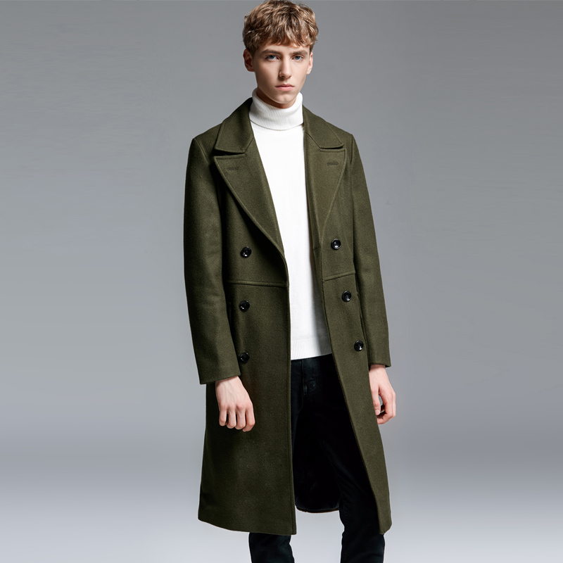 Men Double Breasted Long Cashmere Coat Double Breasted Winter Casual Military Green Army Solid Business Thick Wool Pea Coat 6XL