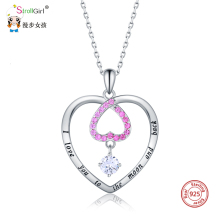 цена Strollgirl new Celtics Knot heart necklaces 925 sterling silver necklace with CZ for women jewelry Christmas' gift free shipping онлайн в 2017 году