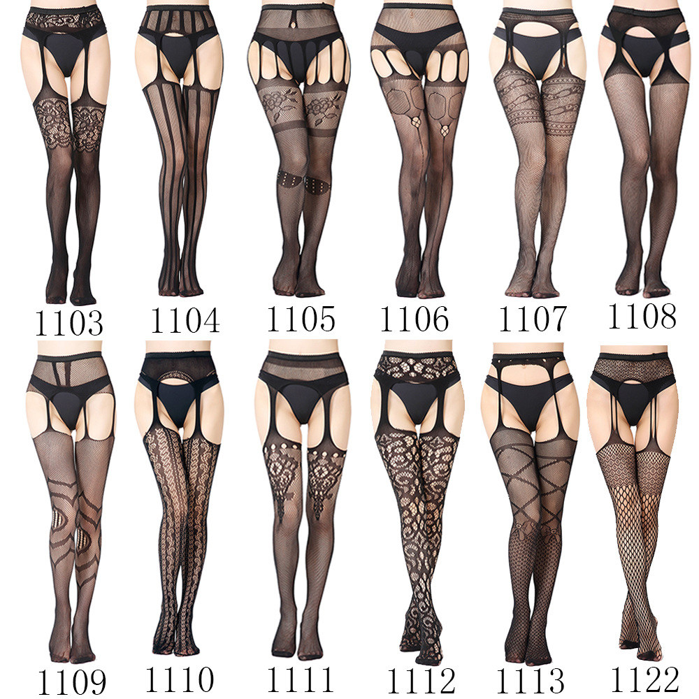 Sexy Fashion Lace Stockings Black Transparent Lace Nylon Stockings Crotchless Erotic Lingerie For Women Babydoll Belt Stockings