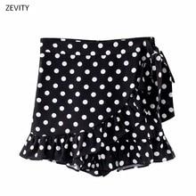 Minifalda con estampado de lunares para mujer, Falda plisada con dobladillo y volantes, con cremallera en la espalda, 2020 QUN603