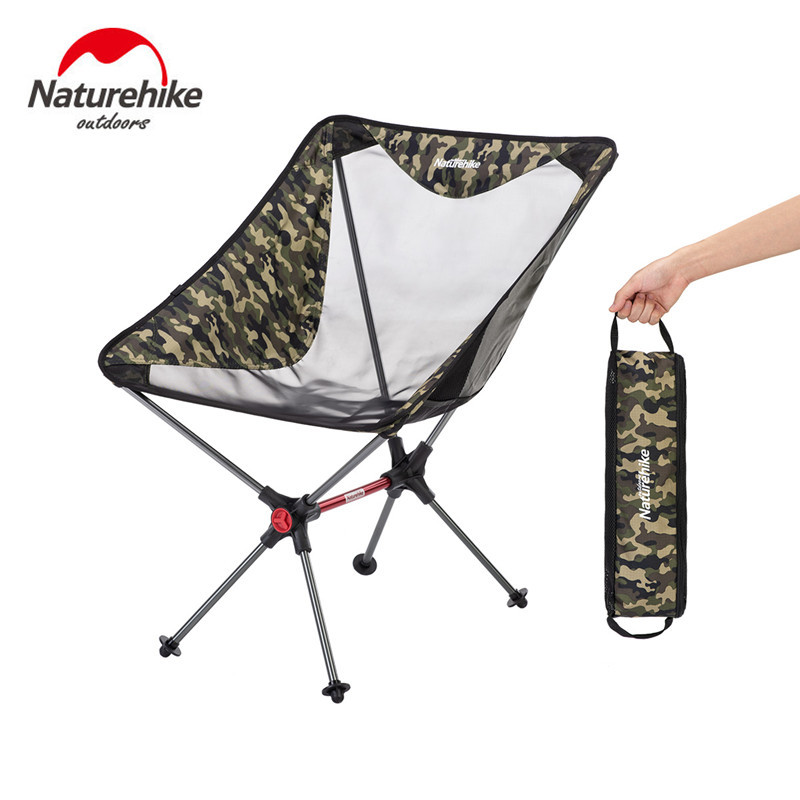 Naturehike New Lightweight Portable Folding Compact Camping Chair Aluminum Mesh Beach Picnic Heavy Duty Camouflage Fishing Chair
