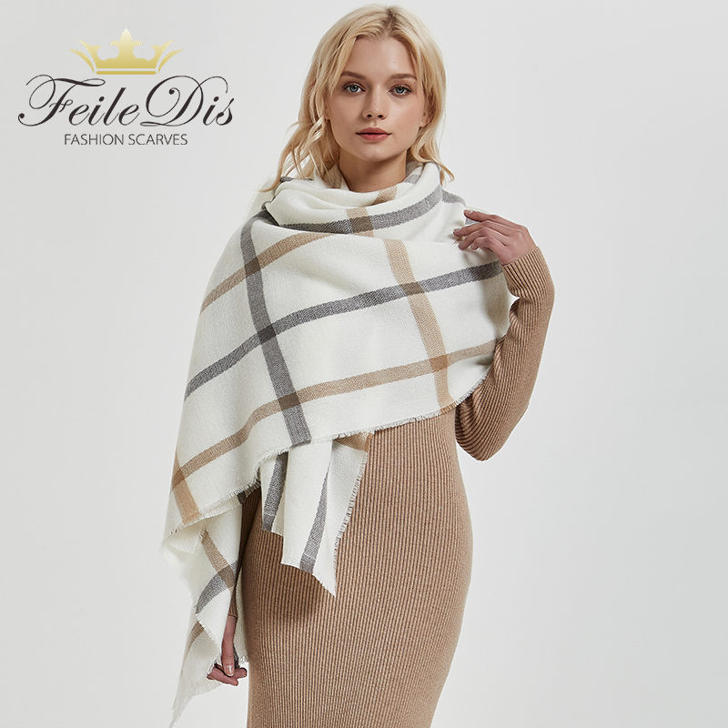 [FEILEDIS]comfortable Wild Thick Soft Plaid Big Lady Sweet Scarf Warm Couple Temperament Long Fresh Simple Scarf Cute Knit Shawl
