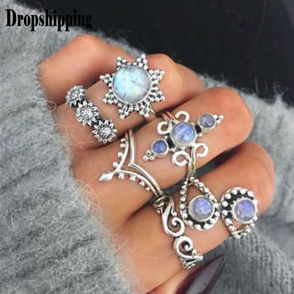 6pcs/Set Women Bohemian Vintage Silver Stack Rings Above Knuckle Blue Rings Set for Women Wedding Rings finger Jewelry Ring