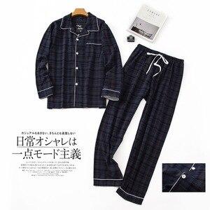 Image 5 - Pijama sencillo de algodón a cuadros para hombre, ropa de dormir informal de Corea para invierno y otoño