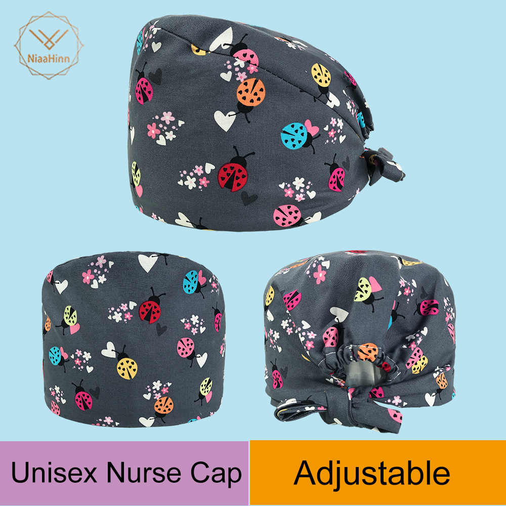 Ladybug Print Hats Pharmacy Cap Nurse Doctor Surgical Hospital Adjustable Medical Surgery Caps Scrub Lab Clinic Dental Operation