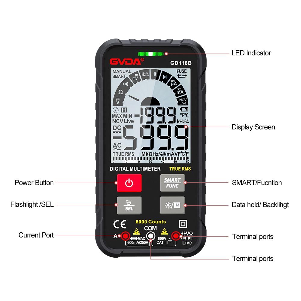 Voltage Tester RMS Tester Hz Multimeter Meter Smart NCV Multimetro Temperature GVDA AC True Universal Digital Ohm Capacitance DC