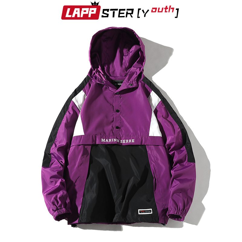 LAPPSTER-Youth Men Harajuku Patchwork Jackets Coats 2020 Japanese Streetwear Vintage Windbreaker Korean Hooded Bomber Jackets