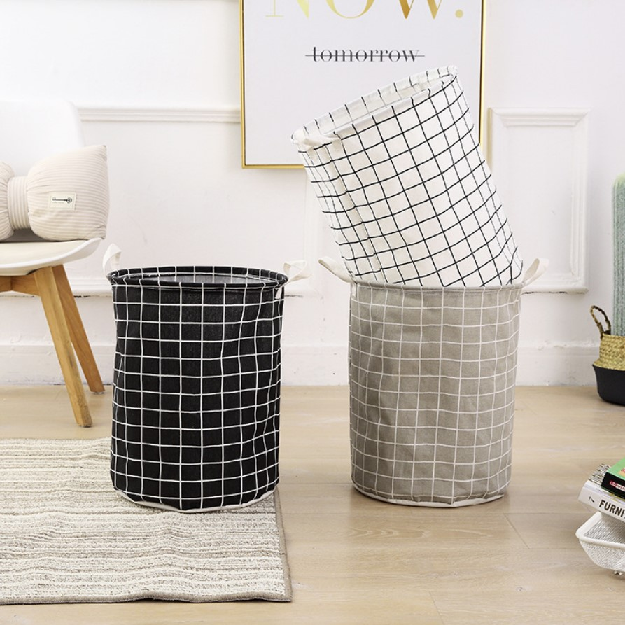 Home Fabric Cotton Linen Laundry Basket Large Waterproof Folding Laundry Basket Hand Bathroom Storage Basket Clothes Storage Bas