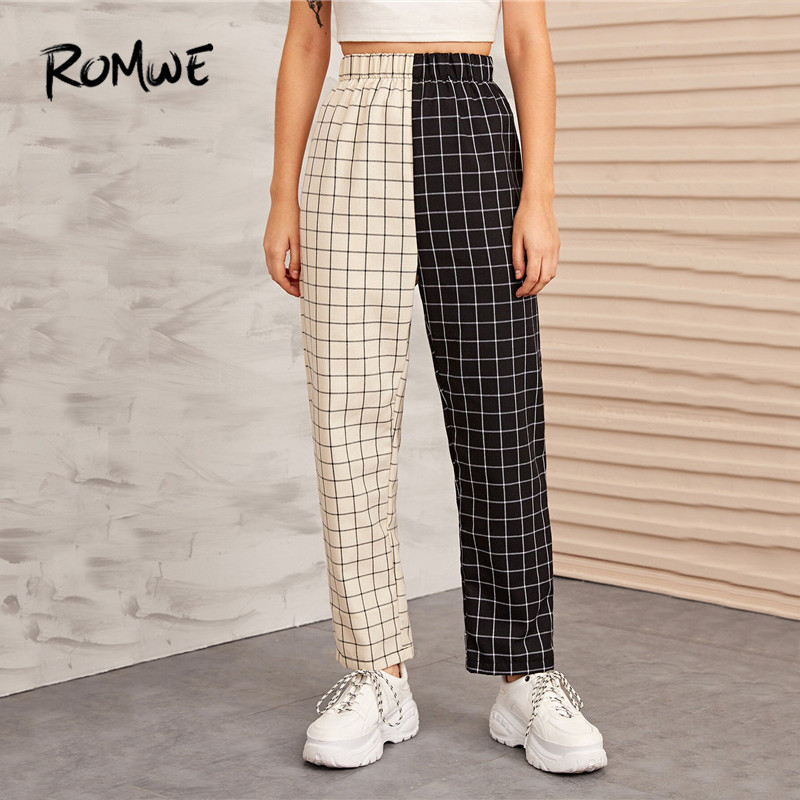 ROMWE Two Tone Plaid Elastic Waist High Waist Pants Women Autumn Streetwear Sweat Pants  Highstreet Loose Pants 2019 Clothes