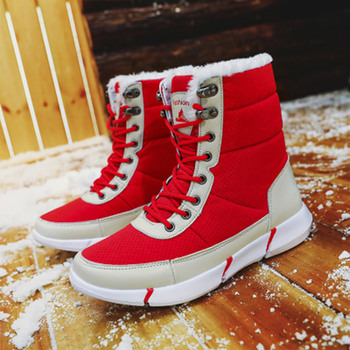 Winter Women Snow Boots Warm Plush Women's Shoes Waterproof Ankle Boots Couples Flat Casual Shoes Woman Round Toe Big Size 48 winter women boots female round toe long riding motorcycle boots shoes stylish flat flock shoes winter snow boots shoes