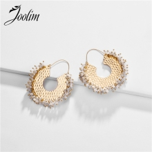 Joolim Jewelry Wholesale High End Bead  Hoop Earring Design