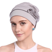 Fashion Women Muslim Hat Hijab Turban Caps Solid Cotton Flower Headscarf Hats Soft Elastic Islam Arab Head Wrap Bonnet hair loss исламский сувенир muslim hui muslim islam moslem women hats scarf supplies yarn bonnet buy discount 65
