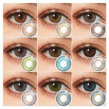Kolorowe kontakty roczne kontakty oczu 3 tonowe soczewki kontaktowe do oczu bez recepty kolorowe soczewki kontaktowe wielokolorowe soczewki tanie tanio hidrocor CN (pochodzenie) 14 5 Dwa kawałki 0 06-0 15 mm HEMA Piękna źrenica 3 tone lentes de contacto lente de contato