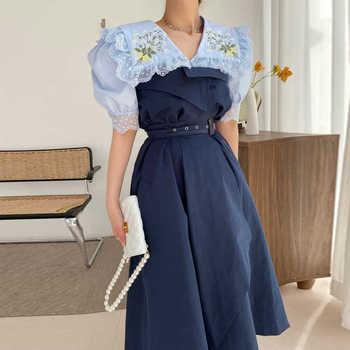 [EWQ] Korea Fashion Trend Women Doll Collar Embroidery Stitching Puff Sleeve Shirt+high Waist Loose Skirt Suit Summer 2021 6E922 1