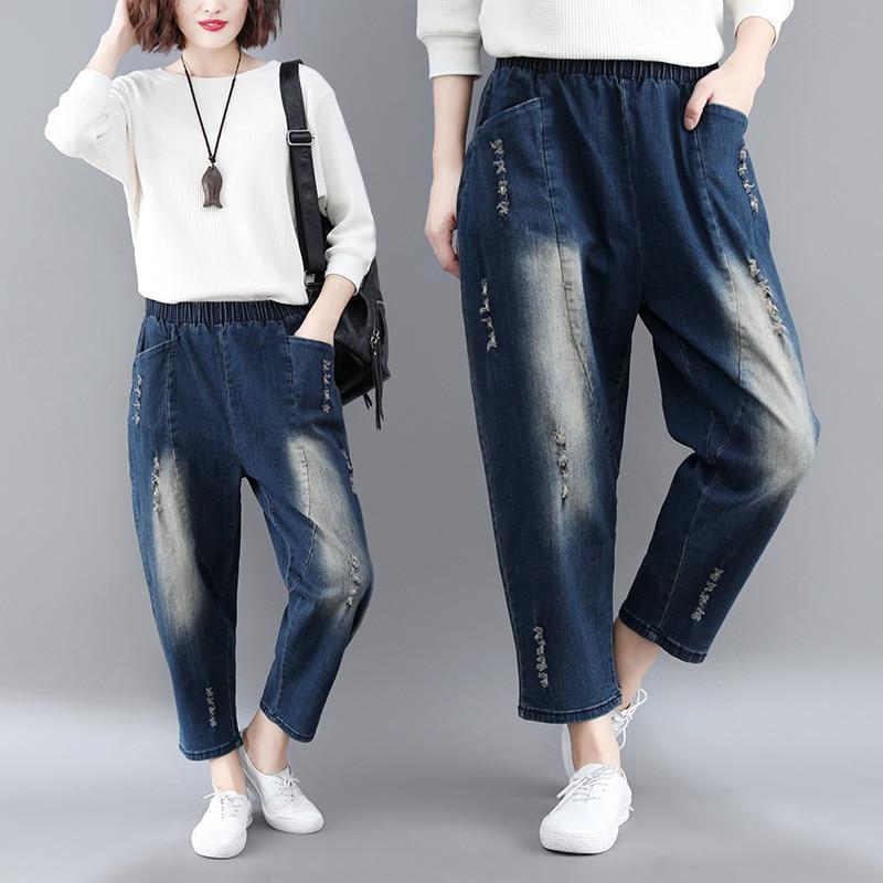 2018 Autumn New Style Literature And Art Elastic Waist With Holes Harem Large Size Dress Versatile Jeans Women's Harem Pants