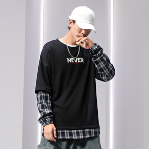 Image 5 - SingleRoad 대형 Crewneck 스웨트 남성 격자 무늬 패치 워크 힙합 일본어 Streetwear 블랙 까마귀 스웨터 남성 후드