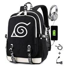 Мужской рюкзак с аниме принтом, школьный ранец для студентов с Usb-зарядкой, повседневный дорожный портфель для ноутбука Gaara Sasuke Uchiha